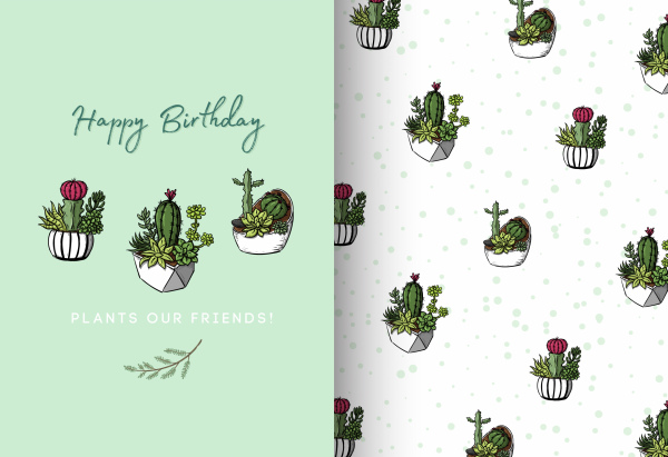 birthday card template repeating cactus pots decor