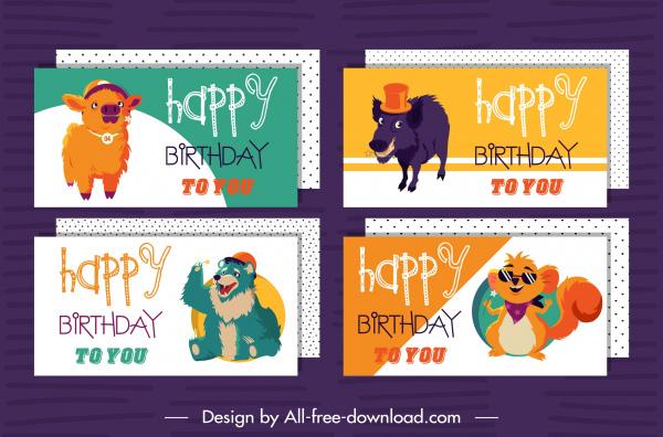 birthday card templates calf wolf bear mouse sketch