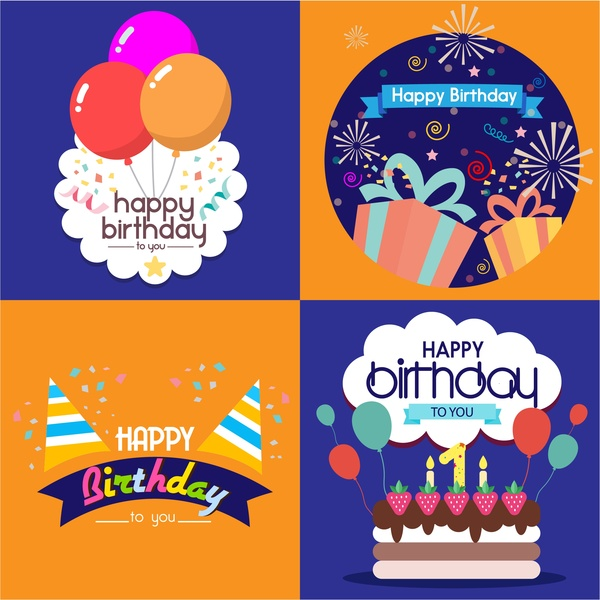 Birthday card templates isolated with various styles Free vector in ...