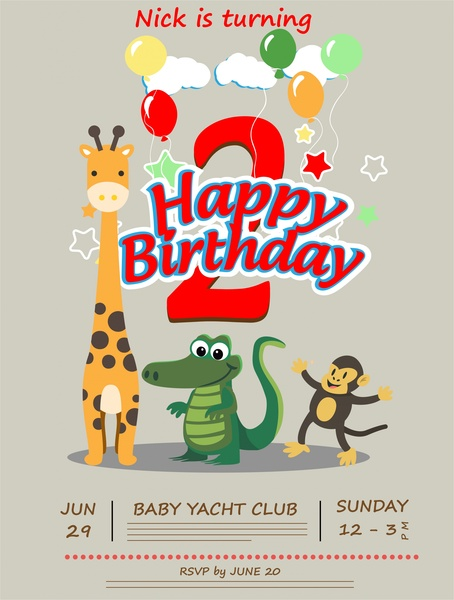 Birthday Card Vector Illustration With Cute Animals