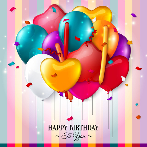 Birthday Card With Colored Balloons Vector Free Vector In