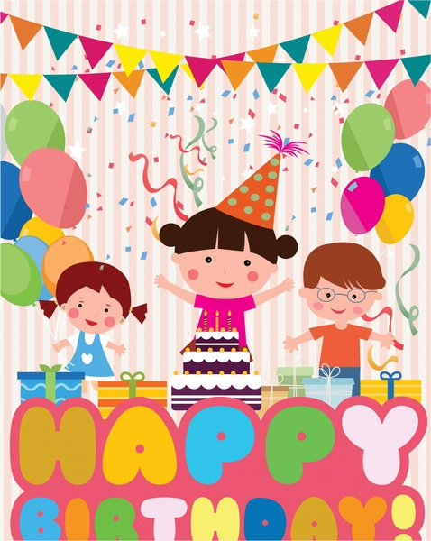 Birthday Decoration Template With Colored Cute Design Free Vector In