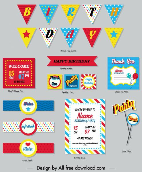 birthday design elements colorful flat shapes decor