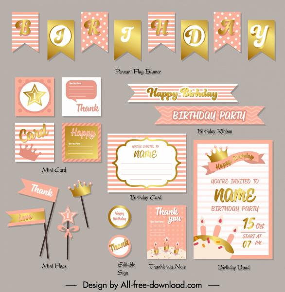 birthday design elements elegant golden pink shapes decor