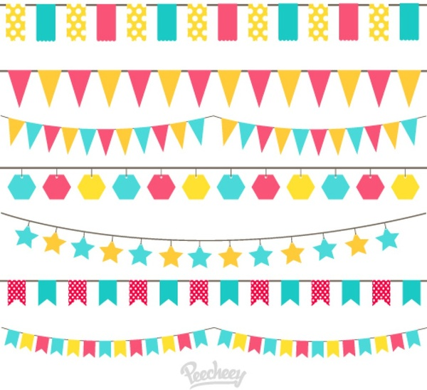 Birthday Flags Free Vector In Adobe Illustrator Ai Ai