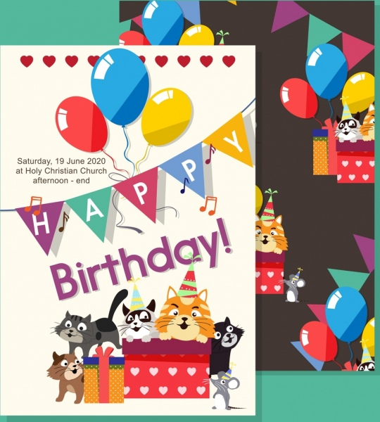 birthday invitation banner cute colorful cat balloons icons
