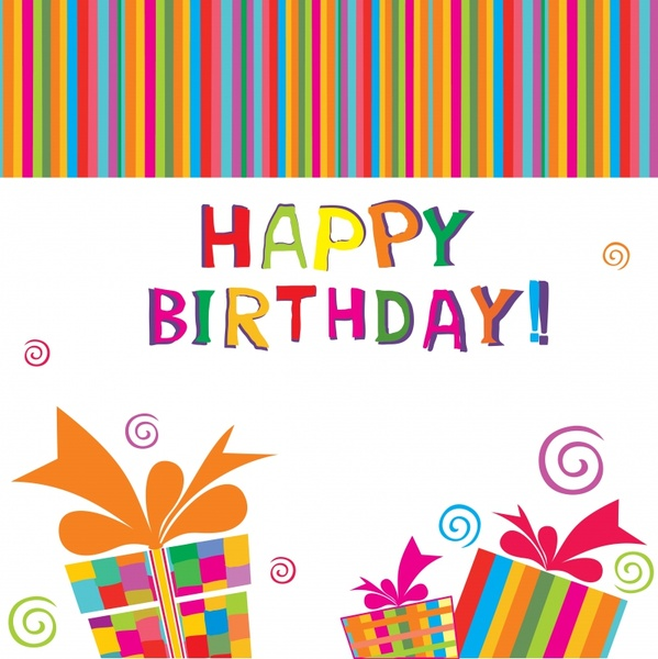 birthday background colorful flat stripes texts gifts decor
