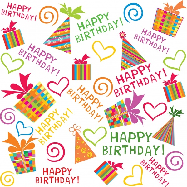 birthday greeting elements colorful flat texts presents sketch
