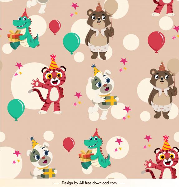 birthday pattern template cute stylized cartoon animals sketch