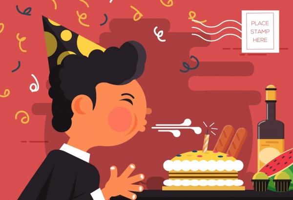 birthday postcard person cake icons confetti decor