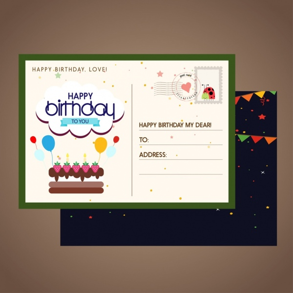 Birthday Postcard Template Classical Colored Decoration Free