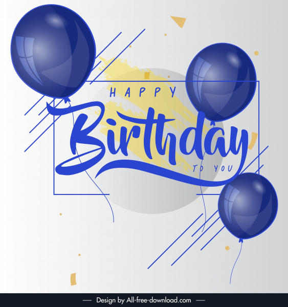 birthday poster template modern bright design balloon decor