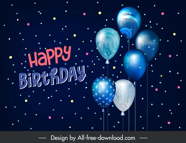 birthday poster template shiny elegant balloons colorful modern