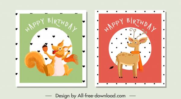 birthday stamp templates stylized squirrel reindeer sketch