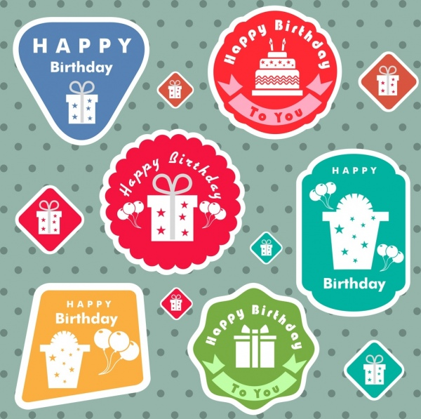 birthday stickers collection various colored flat shapes isolation
