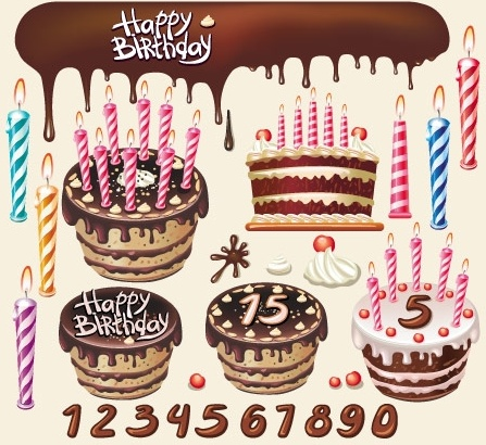 birthday background template colorful cakes and candles decoration