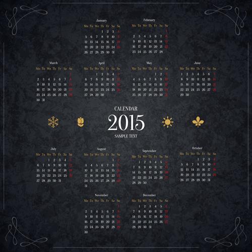 black15 new year calendar vector
