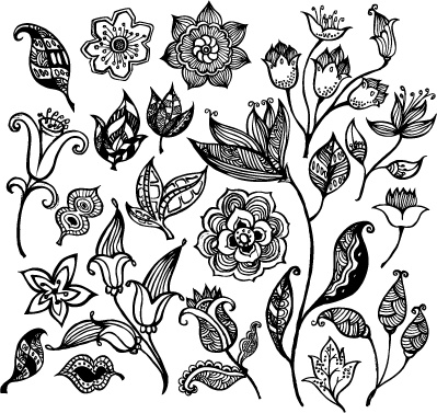flower icons sets classical black white design