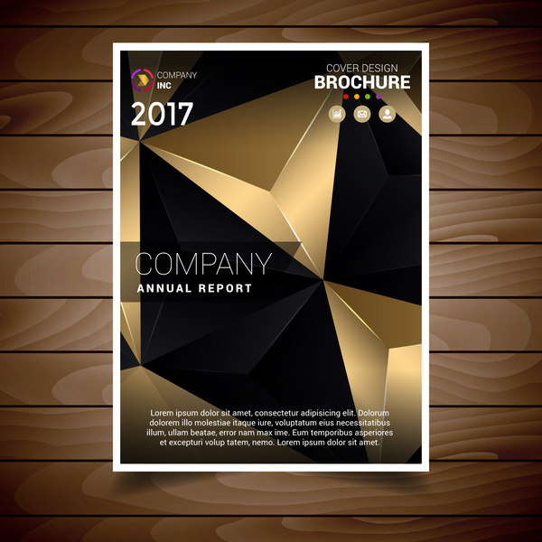 black and gold abstract triangles brochure design template free