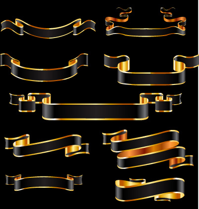 black and gold ribbon vector free vector in encapsulated postscript