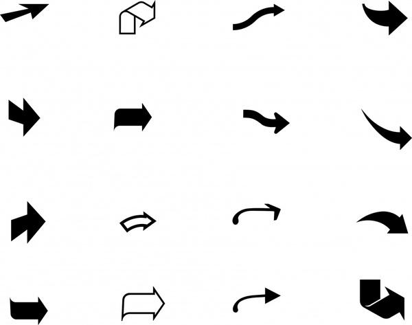 arrow icons black white flat 3d shapes sketch