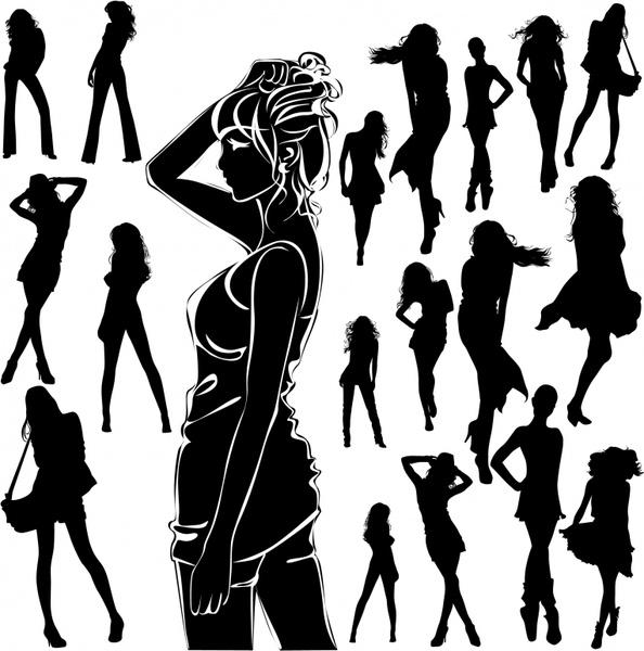 modern girls icons black silhouettes sketch
