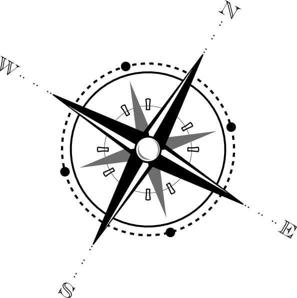 Compass white. Black and clip art