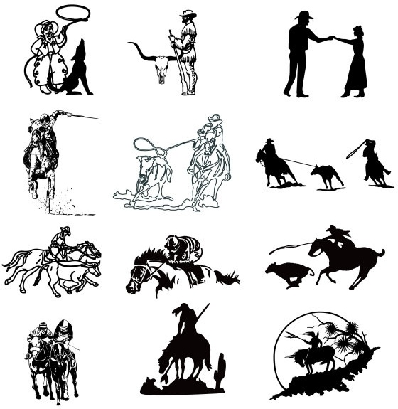 black and white cowboy series a vector drawing free vector beef cow silhouette vector cow head silhouette vector