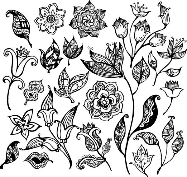 flowers icons black white handdrawn flat sketch