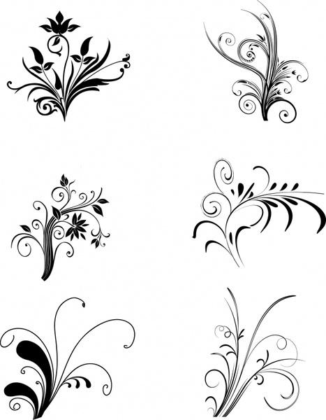 flower design elements classical black white curves sketch