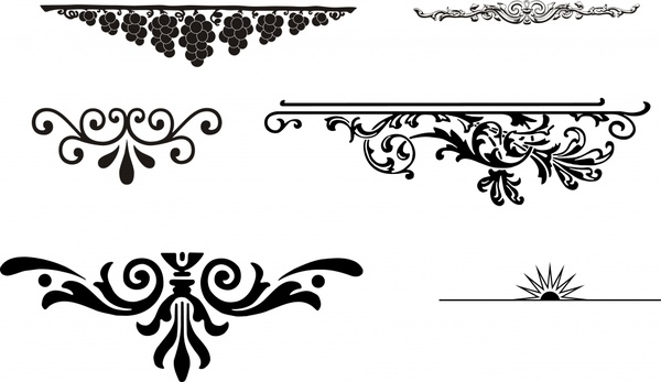 pattern design elements black white classical curves decor