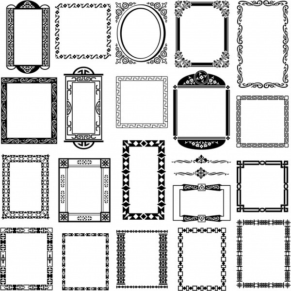 Black And White Pattern Frame Border Vector