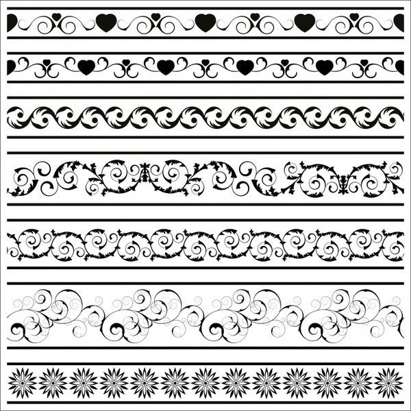 border elements templates retro black white seamless design