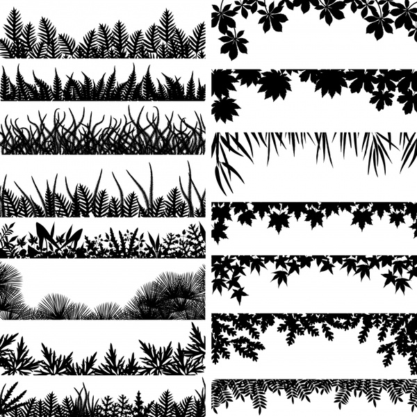 nature design elements black white leaf grass icons