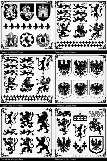 heraldic icons collection black white ancient decor
