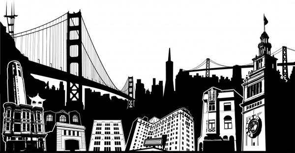 city landmark icons black white silhouette design