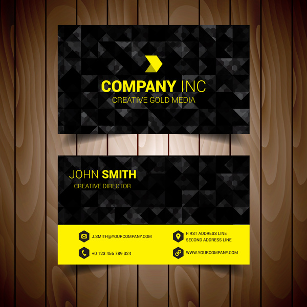 Black and yellow abstract corporate business card free vector in black and yellow abstract corporate business card colourmoves