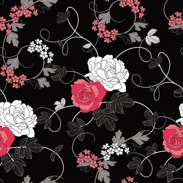 black background floral 01 vector