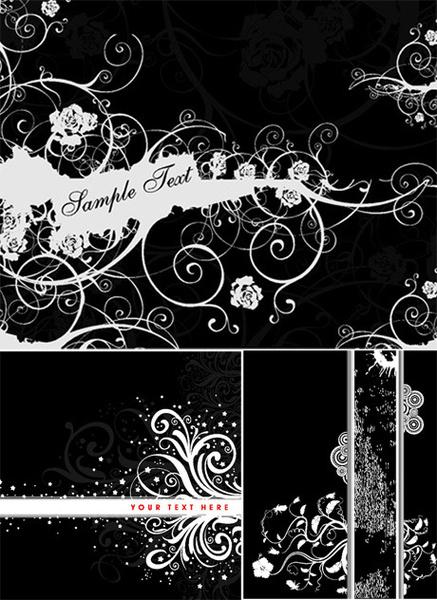 black background flower decoration vector graphic