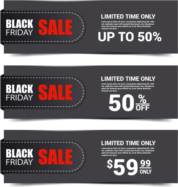 black background sets of black friday banner