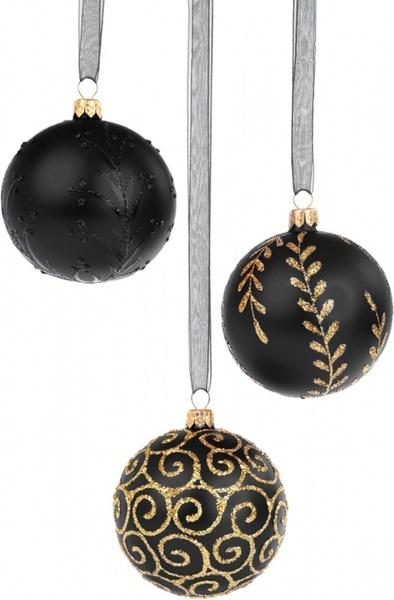 black christmas baubles