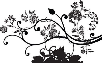 Floral Background Black Silhouette Design Classical Style Free