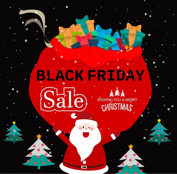 Black Friday Christmas Decorations.Black Friday Banner Christmas Symbols Decoration Free Vector