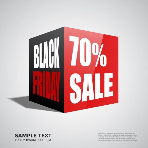 black friday banner design 3d cubic style