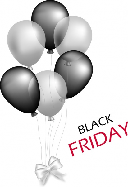 black friday banner grey balloons ornament