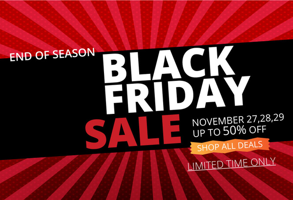 black friday banner on rays and black background