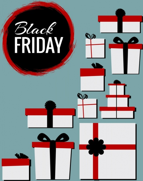 black friday banner various gift boxes ornament