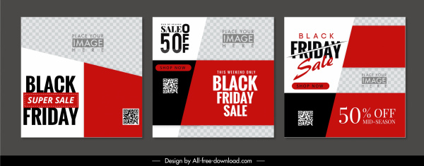 black friday leaflet templates red white checkered layout