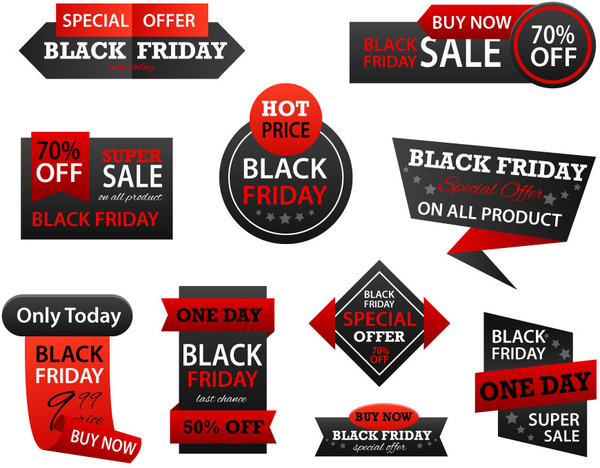 black friday promotion sets with black and red