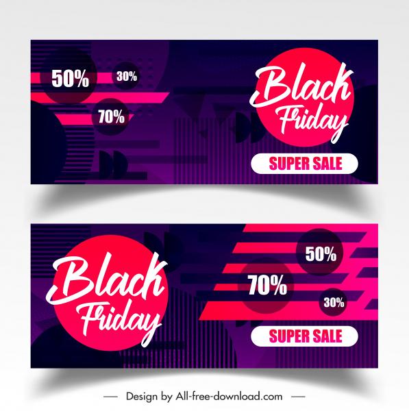 black friday sale banners modern dark colored decor
